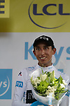Egan Bernal (COL) Team Ineos retains the young riders White Jersey at the end of Stage 11 of the 2019 Tour de France running 167km from Albi to Toulouse, France. 17th July 2019.<br /> Picture: Colin Flockton | Cyclefile<br /> All photos usage must carry mandatory copyright credit (© Cyclefile | Colin Flockton)