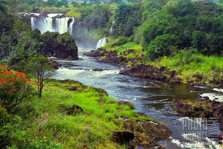 Wailuku River waterfall area known as Boiling Pots, above Rainbow Falls, Hilo