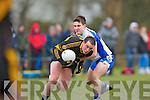 Tadhg O'Connell Castleisland Desmonds gets to grip with Mike McCarthy Currow during their Intermediatte Championship clash in Currow on Sunday