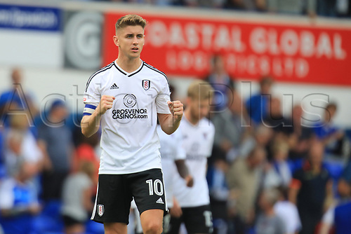 26th August 2017, Portman Road, Ipswich, England; EFL Championship football, Ipswich versus Fulham; Tom Cairney of Fulham celebrates the win