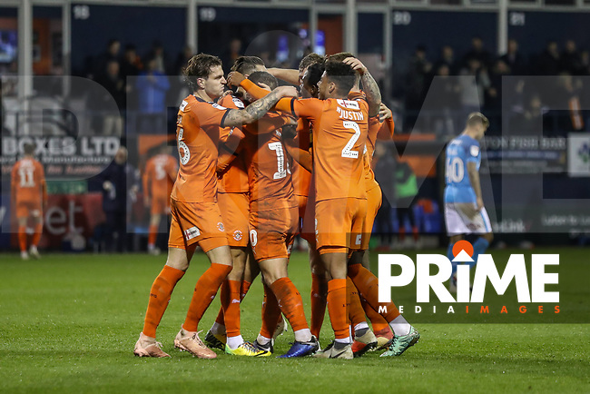 Elliot Lee of Luton Town celebrates with team mates after he scores his team's second goal during the Sky Bet League 1 match between Luton Town and Bradford City at Kenilworth Road, Luton, England on 27 November 2018. Photo by David Horn.