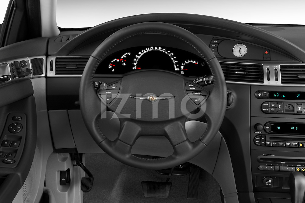 Steering wheel view of a 2008 Chrysler Pacifica