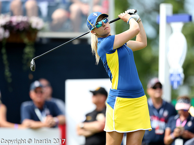 DES MOINES, IA - AUGUST 20: Europe's Jodi Ewart Shadoff watches her tee shot on the first hole during her singles match Sunday morning at the 2017 Solheim Cup in Des Moines, IA. (Photo by Dave Eggen/Inertia)