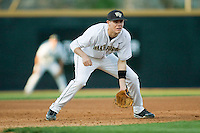 Third baseman Shane Kroker #10 of the Wake Forest Demon Deacons on defense against the Charlotte 49ers at Wake Forest Baseball Park March 30, 2010, in Winston-Salem, North Carolina.  Photo by Brian Westerholt / Four Seam Images