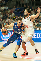 Real Madrid´s Facundo Campazzo and Anadolu Efes´s Dogus Balbay during 2014-15 Euroleague Basketball match between Real Madrid and Anadolu Efes at Palacio de los Deportes stadium in Madrid, Spain. December 18, 2014. (ALTERPHOTOS/Luis Fernandez) /NortePhoto /NortePhoto.com