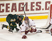 Travis Blanliel (UVM - 10), Connor Moore (BC - 7) - The visiting University of Vermont Catamounts tied the Boston College Eagles 2-2 on Saturday, February 18, 2017, Boston College's senior night at Kelley Rink in Conte Forum in Chestnut Hill, Massachusetts.Vermont and BC tied 2-2 on Saturday, February 18, 2017, Boston College's senior night at Kelley Rink in Conte Forum in Chestnut Hill, Massachusetts.