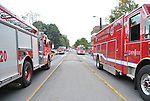 Over 15 firetrucks parked near Rose street during the Chem-Phys fire, September 7.