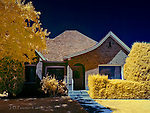 Domicile #325, Panguitch, Utah (Infrared) ©2016 James D Peterson.  The curved roof line of this classic southern Utah home caught my eye, allowing my infrared camera to work its unique magic on the colors in this scene.