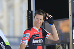 Whats my number? Martin Elmiger (SUI) BMC Racing Team at sign on for the 115th edition of the Paris-Roubaix 2017 race running 257km Compiegne to Roubaix, France. 9th April 2017.<br /> Picture: Eoin Clarke | Cyclefile<br /> <br /> <br /> All photos usage must carry mandatory copyright credit (&copy; Cyclefile | Eoin Clarke)