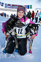 First place winner, Bailey Schaeffer poses with her lead dogs at the finish of the 2018 Junior Iditarod in Willow, Alaska. Sunday February 25, 2018<br /> <br /> Photo by Jeff Schultz/SchultzPhoto.com  (C) 2018  ALL RIGHTS RESERVED