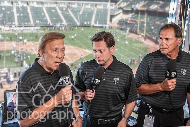 Oakland Raiders vs Detroit Lions at O.co Coliseum Saturday, August 25, 2012.Tom Flores, Greg Papa, Jim Plunkett doing television spot..