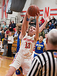 WINSTED,  CT-021919JS14- Northwestern's Emma Propfe (13) pulls down a rebound in the closing minute of their win over Gilbert during their Berkshire League semi-final game Tuesday at Northwestern Regional High School in Winsted. <br /> Jim Shannon Republican American