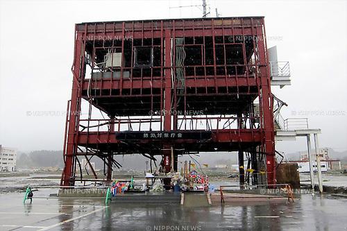 """Minamisanriku, Miyagi, Japan - The building of disaster measures in Minamisanriku, one year after the tsunami. The Latin group of volunteers """"Todos con Japon"""" visits Miyagi area during this Golden Week."""