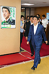 Japanese Prime Minister Shinzo Abe, leader of the Liberal Democratic Party (LDP) leaves the party headquarters on July 11, 2016, Tokyo, Japan. The LDP, along with its junior coalition partner Komeito, claimed victory taking at least 63 of the 121-seats available in the House of Councillors elections. (Photo by Rodrigo Reyes Marin/AFLO)