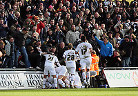 Pictured: Darren Pratley of Swansea City is mobbed by team mates<br /> Re: Coca Cola Championship, Swansea City FC v Cardiff City at the Liberty Stadium. Swansea, south Wales, Sunday 30 November 2008.<br /> Picture by D Legakis Photography / Athena Picture Agency, Swansea 07815441513