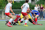 Mannheim, Germany, September 27: During the 1. Bundesliga Damen Saison 2014/15 field hockey match between Mannheimer HC and TSV Mannheim on September 27, 2014  Mannheimer Hockey Club in Mannheim, Germany. Final score 3-3 (2-3). (Photo by Dirk Markgraf / www.265-images.com) *** Local caption *** Emma Hessler #2 of TSV Mannheim, Lea Goerdt #12 of TSV Mannheim, Friederike Schreiber (TW) of TSV Mannheim, Maxi Pohl #6 of Mannheimer HC