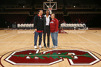 8 January 2007: Stanford Cardinal assistant coach Charmin Smith and her locker sponsors during Stanford's 69-54 win against the South Carolina Gamecocks at Maples Pavilion in Stanford, CA.