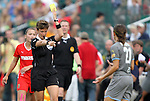 27 August 2011: Referee Kari Seitz shows a yellow card to Philadelphia's Veronica Boquete (ESP) (21). Western New York Flash defeated the Philadelphia Independence 5-4 on penalty kicks to win the final after the game ended in a 1-1 tie after overtime at Sahlen's Stadium in Rochester, New York in the Women's Professional Soccer championship game.