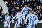 Real Madrid's Sergio Reguilon and CD Leganes's Sabin Merino fight for the ball during  between Real Madrid and CD Leganes at Butarque Stadium in Madrid, Spain. January 16, 2019. (ALTERPHOTOS/A. Perez Meca)