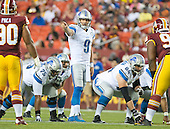 Detroit Lions quarterback Matthew Stafford (9) calls signals in first quarter action against the Washington Redskins at FedEx Field in Landover, Maryland on Thursday, August 20, 2015.<br /> Credit: Ron Sachs / CNP