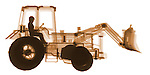 X-ray image of a utility tractor (orange on white) by Jim Wehtje, specialist in x-ray art and design images.