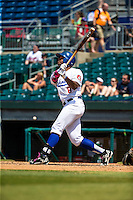 Adam Brett Walker II (8) of the Chattanooga Lookouts bats during a game between the Jackson Generals and Chattanooga Lookouts at AT&T Field on May 10, 2015 in Chattanooga, Tennessee. (Brace Hemmelgarn/Four Seam Images)