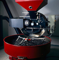 Coffee  roasting / toasting machine, mixing and blending of coffee beans.