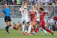 Boyds, MD. - Saturday, June 24 2017:  Dagný Brynjarsdóttir, Francisca Ordega during a regular season National Women's Soccer League (NWSL) match between the Washington Spirit and the Portland Thorns FC at Maureen Hendricks Field, Maryland SoccerPlex. The Washington Spirit defeated Portland Thorns FC 1-0.