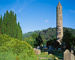 County Wicklow, Ireland<br /> Round tower in the Vale of Glendalough, Wicklow National Park