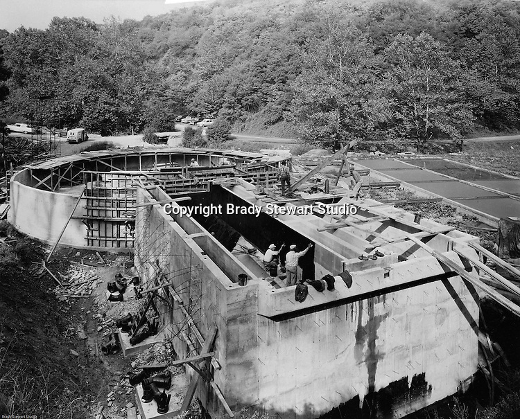 Virginia:  View of Pittsburgh Coke and Chemical employees applying coatings to a Virginia-American Water Company treatment plant. This was part of a contract between Pittsburgh Activated Carbon Company (division of Pittsburgh Coke) and Virginia-American Water Company.