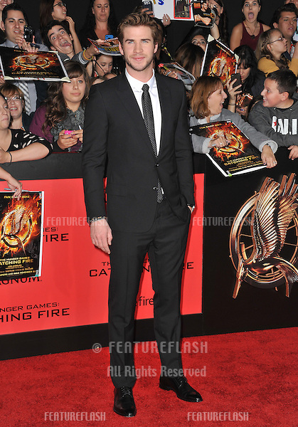 Liam Hemsworth at the US premiere of his movie &quot;The Hunger Games: Catching Fire&quot; at the Nokia Theatre LA Live.<br /> November 18, 2013  Los Angeles, CA<br /> Picture: Paul Smith / Featureflash