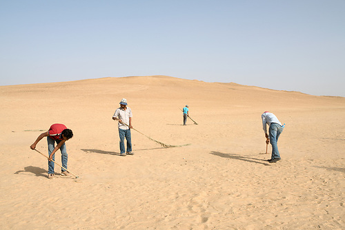"Shooting of the series ""Wahet Al Gheroub"" (""Sunset Oasis"") Egypt, April 2017 (El Adl Group). Members of the crew are sweeping the sand to the make the desert look untouched before shooting the scene.<br /> <br /> Tournage de la série ""Wahet Al Gheroub"" (""Le crépuscule de l'Oasis"") Egypte, Avril 2017 (El Adl group). Des techniciens préparent la scène, et balayent le sable pour que le désert paraisse vierge de passage"