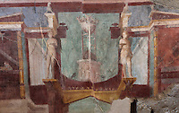 Fresco decoration of an architectural framework with statues and a tripod on a base, on the North wall of the Frigidarium or cold pool of the baths in the Casa del Criptoportico, or House of the Cryptoporticus, Pompeii, Italy. This room is decorated in the Second Style of Pompeiian wall painting, 1st century BC. The house is one of the largest in Pompeii and was owned by the Valerii Rufi family and built in the 3rd century BC. It takes its name from the underground corridor or cryptoporticus used as a wine cellar and lit by small windows. Pompeii is a Roman town which was destroyed and buried under 4-6 m of volcanic ash in the eruption of Mount Vesuvius in 79 AD. Buildings and artefacts were preserved in the ash and have been excavated and restored. Pompeii is listed as a UNESCO World Heritage Site. Picture by Manuel Cohen