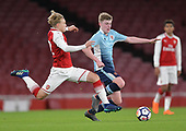 16/04/2018 Arsenal v Blackpool FAYC Semi 2L<br /> <br /> Matthew Smith challenges Brendan O'Brien