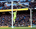 Claudio Bravo of Manchester City tips a long range Alvaro Negredo of Middlesbrough shot over the bar early in the second half during the Premier League match at the Etihad Stadium, Manchester. Picture date: November 5th, 2016. Pic Simon Bellis/Sportimage