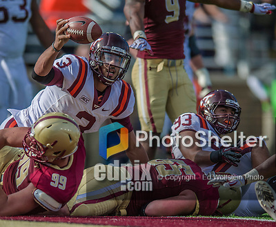 2 November 2013: Virginia Tech Hokies quarterback Logan Thomas (3) holds up the ball on the goal line on a keeper play against the Boston College Eagles in the third quarter at Alumni Stadium in Chestnut Hill, MA. The Eagles defeated the Hokies 34-27. Mandatory Credit: Ed Wolfstein-USA TODAY Sports *** RAW (NEF) Image File Available ***