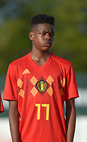 20180417 - TUBIZE , BELGIUM : Belgian Nathan Ngoy  pictured during the friendly  soccer match between  under 15 teams of  Belgium and Switzerland , in Tubize , Belgium . Tuesday 17 th April 2018 . PHOTO SPORTPIX.BE / DIRK VUYLSTEKE
