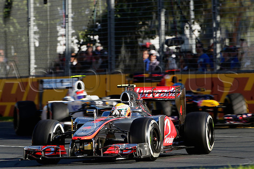 18.03.2012. Melbourne, Australia.   Lewis Hamilton McLaren Mercedes GP Australia 2012 Formula 1 Grand Prix Australia Jenson Button won the race with Sebbastian Vettel in second and Lewis Hamilton in third place.