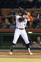 Scottsdale Scorpions center fielder Ronnie Dawson (4), of the Houston Astros organization, at bat during an Arizona Fall League game against the Surprise Saguaros at Scottsdale Stadium on October 15, 2018 in Scottsdale, Arizona. Surprise defeated Scottsdale 2-0. (Zachary Lucy/Four Seam Images)