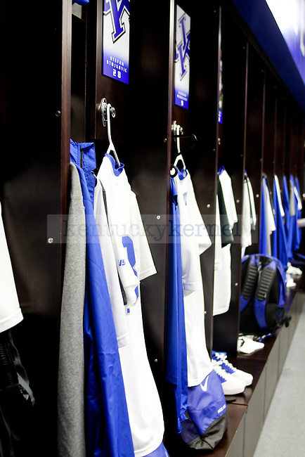 The UK men's soccer uniforms hang prior to their game against Belmont in their new locker room in the Wendell and Vickie Bell Soccer Complex in Lexington, Ky., on Sunday, August 31, 2014. Photo by Jonathan Krueger | Staff