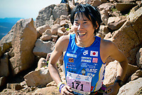 August 19, 2017 - Colorado Springs, Colorado, U.S. -  Japan's, Fujio Miyachi, breaks into a huge smile as he enters the final boulder field near the summit of the 62nd running of the Pikes Peak Ascent.  The Ascent is a full half-marathon gaining over 7800 feet in elevation to reach the summit at 14,115 feet.  Mountain runners from around the world converge on Pikes Peak for two days of racing on America's Mountain in Colorado Springs, Colorado.