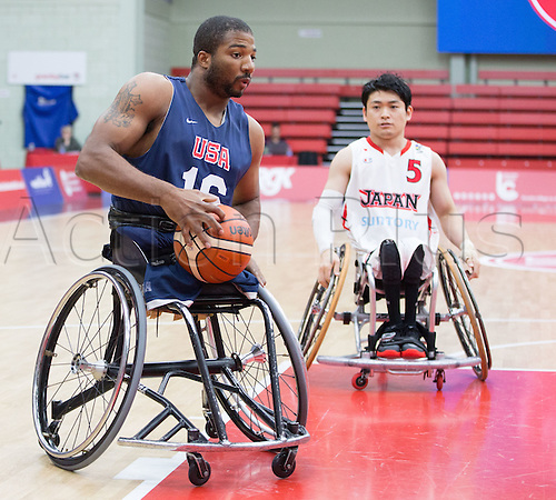 03.07.2016. Leicester Sports Arena, Leicester, England. Continental Clash Wheelchair Basketball, USA versus Japan.  Trevon Jenifer (USA) in possession of the ball