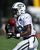 Romar Morris #33, New York Jets rookie running back, secures a ball during team training camp at Atlantic Health Jets Training Center in Florham Park, NJ on Saturday, Aug. 6, 2016