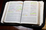 Carolina02_DLA_037.jpg.Rev. Patrick Wooden's copy of The Bible, with his notes, Upper Room Church of God in Christ in Raleigh, North Carolina, Thursday, August 30, 2012. .By D.L. ANDERSON/SPECIAL TO THE CHRONICLE