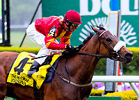 NEW YORK, NY - MAY 13: #4 Zahukova easily wins for trainer Dermont Weld in the Man O' War Stakes, at Belmont Park in the slop on May 13, 2017 in Elmont, New York. (Photo by Dan Heary/Eclipse Sportswire/Getty Images)