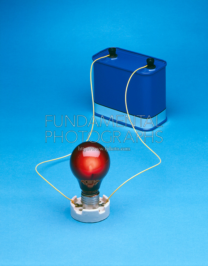 SIMPLE CIRCUIT<br /> 12V battery &amp; lit bulb<br /> The negative terminal of the battery pushes electrons towards the positive terminal which attracts the electrons. This current travels across the bulb filament where resistance causes the filament to heat up and glow.