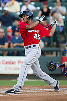 Oklahoma City RedHawks outfielder Justin Maxwell (25) follows through on his swing during the Pacific Coast League baseball game against the Round Rock Express on July 9, 2013 at the Dell Diamond in Round Rock, Texas. Round Rock defeated Oklahoma City 11-8. (Andrew Woolley/Four Seam Images)