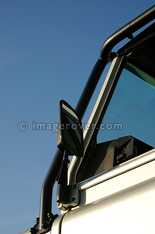 Germany, Bad Kissingen, Allrad Messe, 25-29.05.2005. Silver Land Rover Defender 90 with roll cage. --- No releases available. Automotive trademarks are the property of the trademark holder, authorization may be needed for some uses.