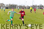 Chase on<br /> -------------<br /> Sean O'Connell, Park gets to the ball before Harry Shine, Evergreen of Kilkenny city when the sides met in the U13 school boys National quarter final at Christy Leahy park, Tralee last Sunday evening in front of a large crowd.