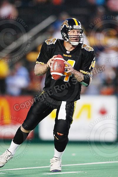 July 12, 2002; Hamilton, Ontario, Canada; Hamilton Tiger-Cats quarterback (14) Danny McManus in action during the 2002 season at Ivor Wynne Stadium. Photo © Ron Scheffler. MANDATORY CREDIT
